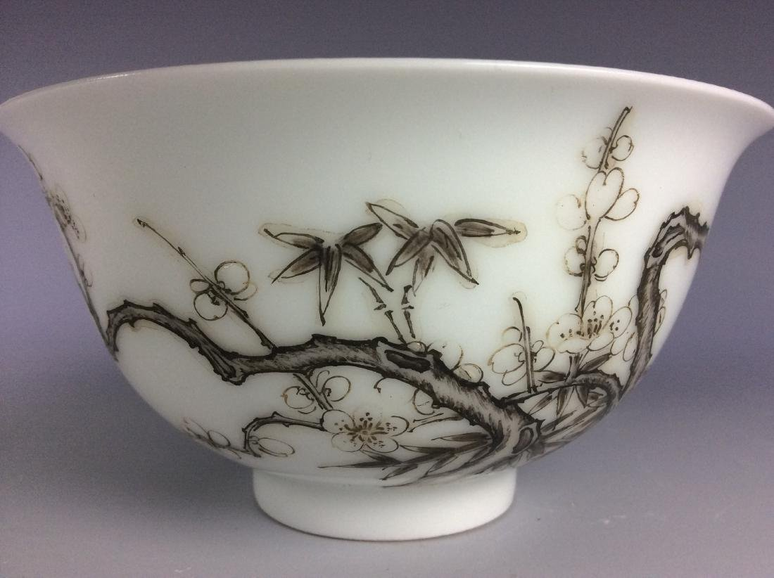 Chinese porcelain bowl  with bamboo and calligraphy