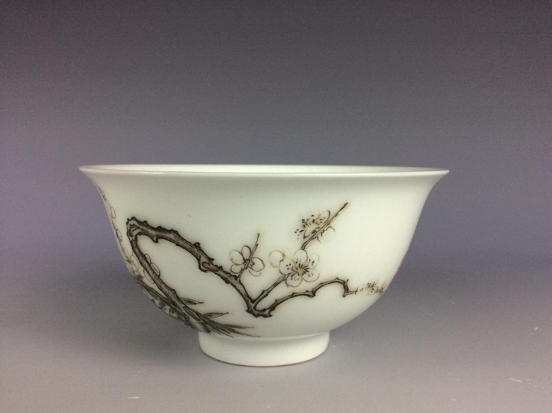 Chinese porcelain bowl  with bamboo and calligraphy - 3