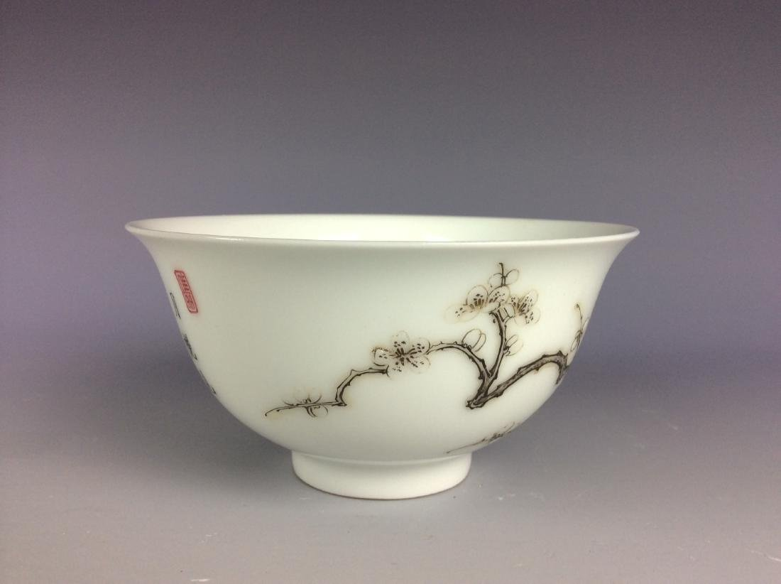Chinese porcelain bowl  with bamboo and calligraphy - 4