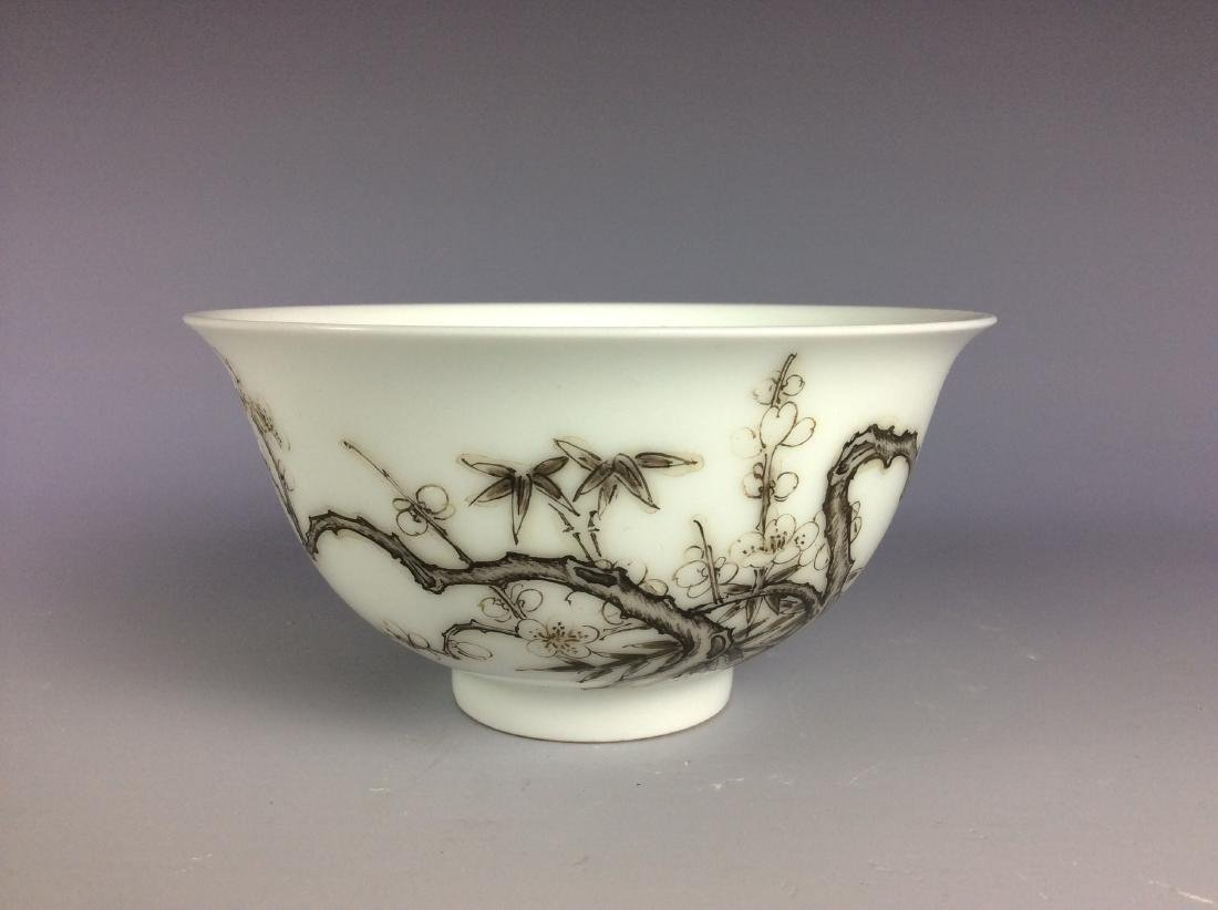 Chinese porcelain bowl  with bamboo and calligraphy - 5