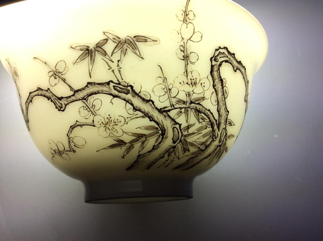 Chinese porcelain bowl  with bamboo and calligraphy - 6