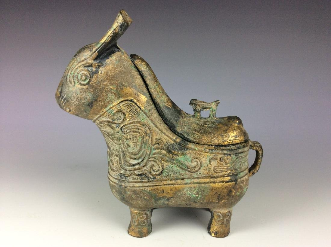 Rare Chinese bronze hare shaped vessel with cover