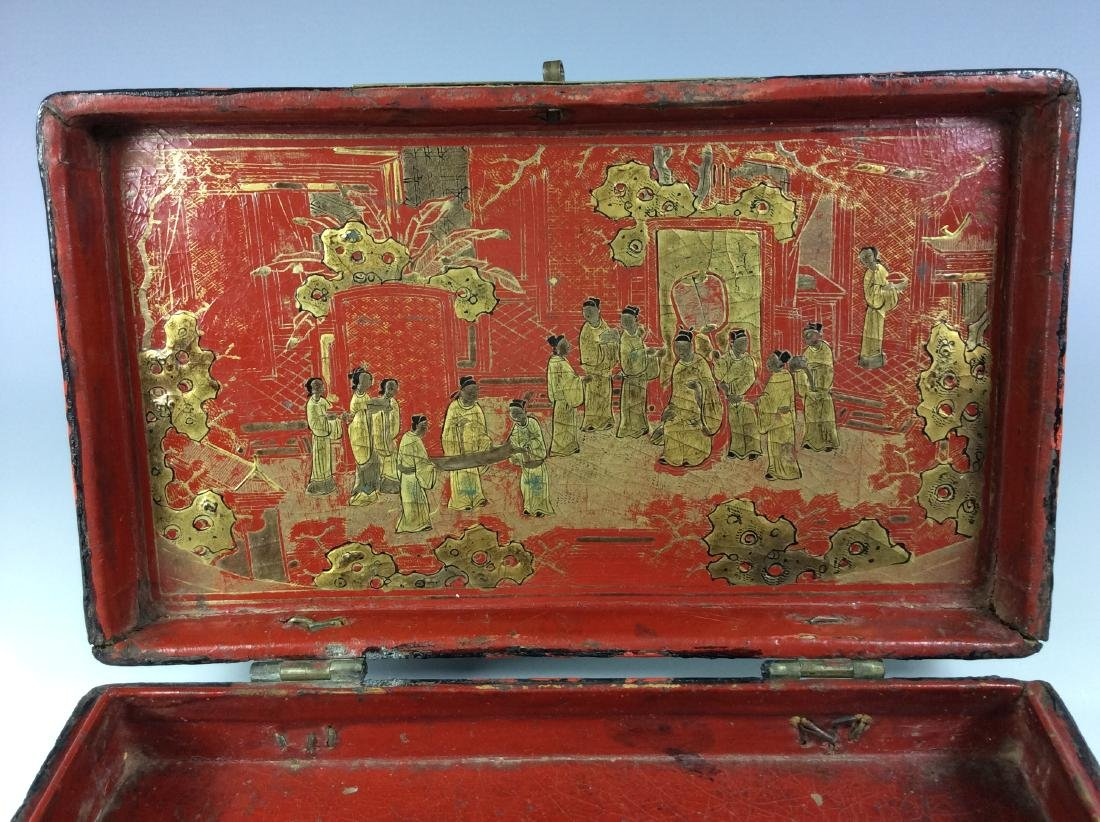 Vintage Chinese/Asian lacquer box with figures and