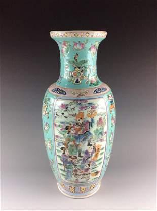 Vintage Chinese famille rose porcelain vase marked