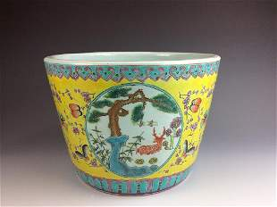 Chinese Famillie Rose Porcleian Planter with Deer