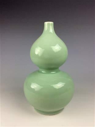 Chinese celadon porcelain double gourd bottle vase,
