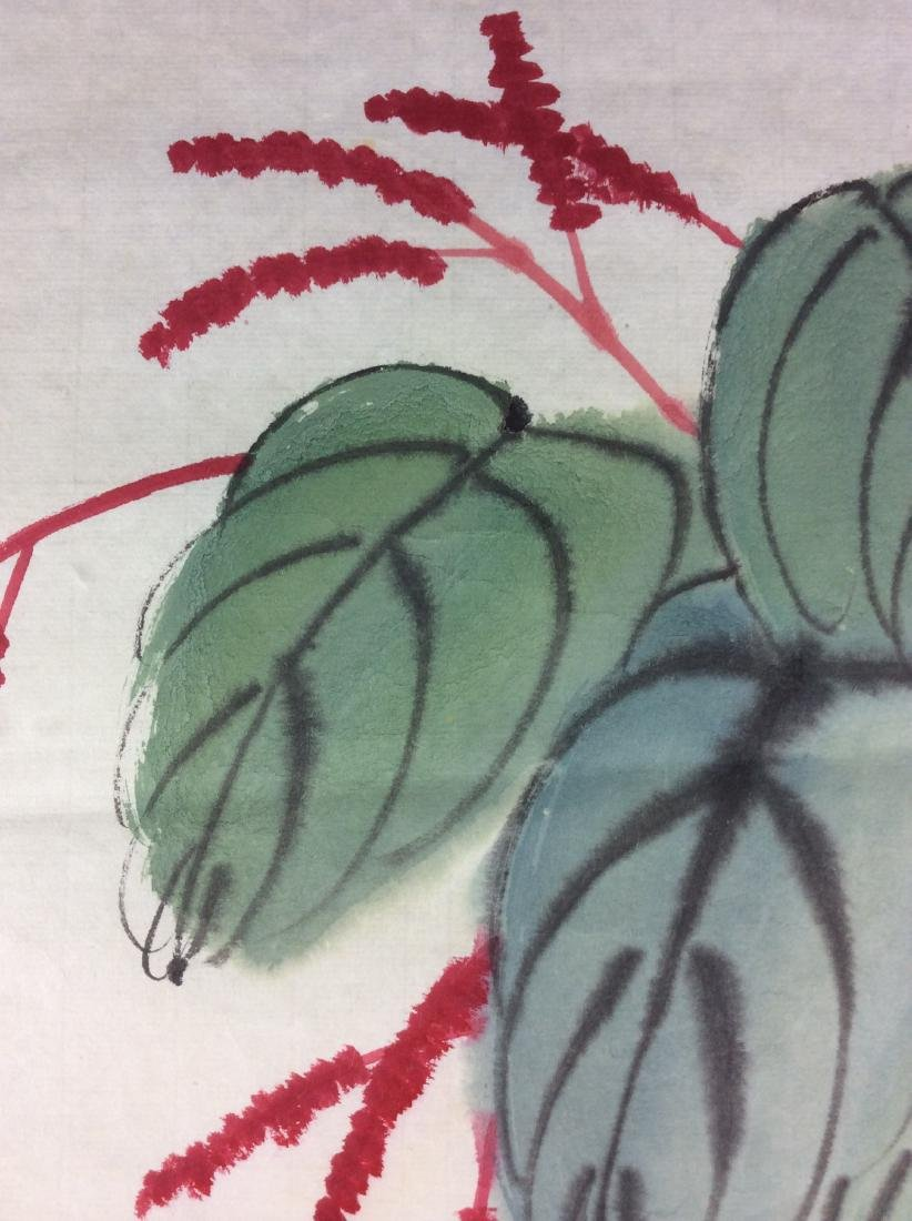 Chinese hand painted painting leaf, water color and ink - 4