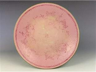 Vintage Chinese porcelain plate pink glazed decorated