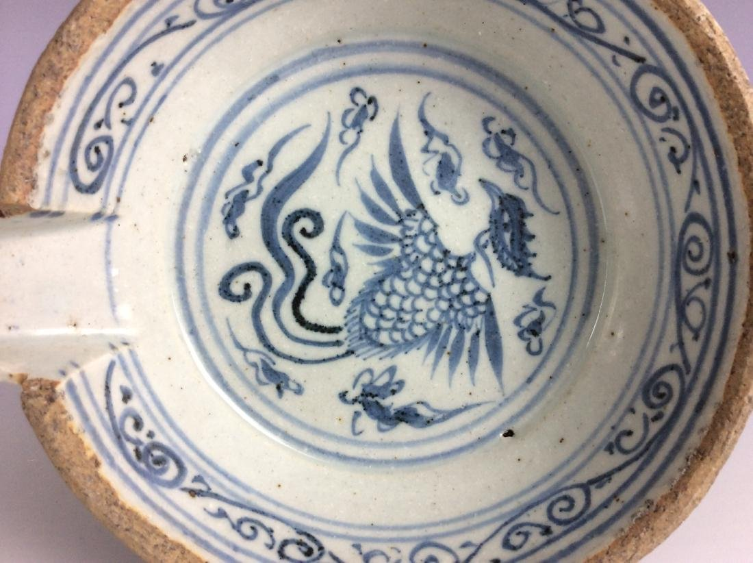 Chinese B/W  drinking saucer  with phoenix - 2