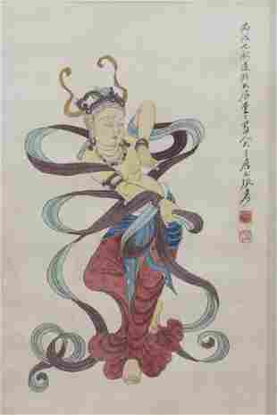 Chinese painting water color and ink hand painted on