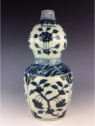 Chinese blue and white porcelain double gourd bottle