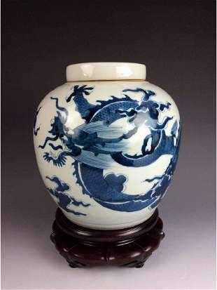 Fine Chinese porcelain BW pot with lid dedcorated