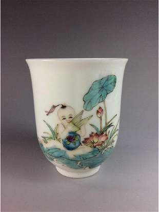 Fine Chinese porcelain cup familee rose glazed