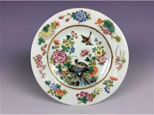 Chinese famille rose saucer painted with flower and