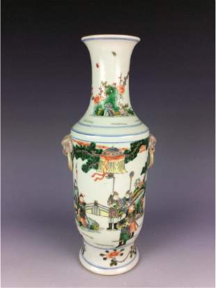 Chinese Kuangxi style porcleian vase Wucai glaze