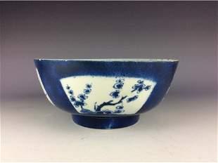 Vintage Chinese porcleian bowl blue white glaze