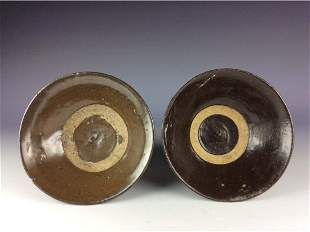 Vintage pair of two Chinese Song style porcleian bowl