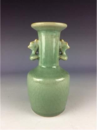 Fine Chinese Yuan style porcleian vase celadon glaze