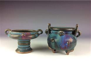 pair of Chinese Yuan style porcleian cencer and high