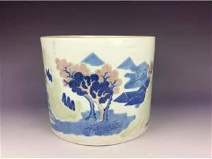 Elegant Chinese BW threecolor brush pot