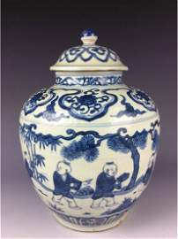 Chinese blue and white lidded jar with children