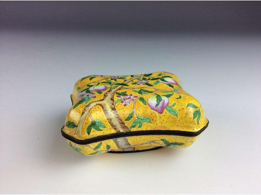 Chinese cloisonne box with peach branch,  mark on base. - 2