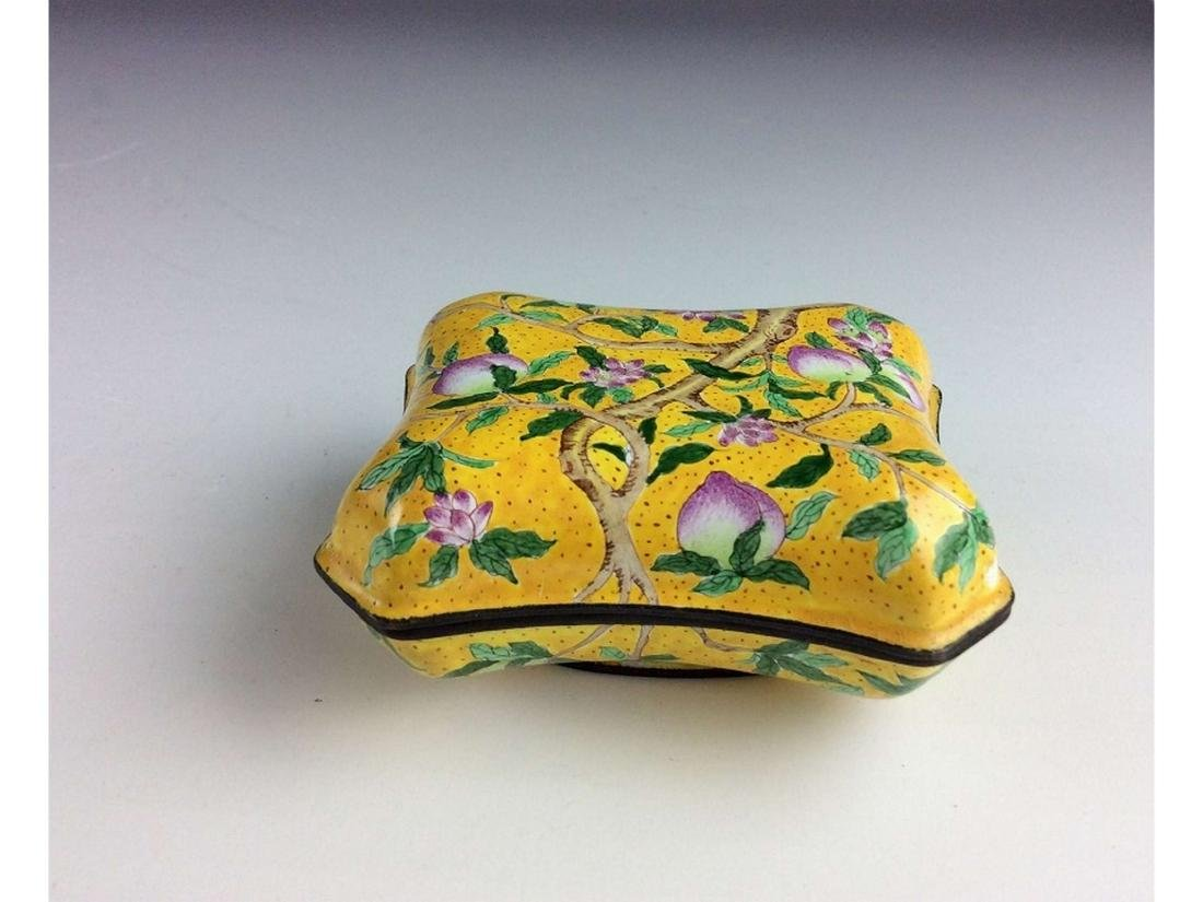 Chinese cloisonne box with peach branch,  mark on base. - 3