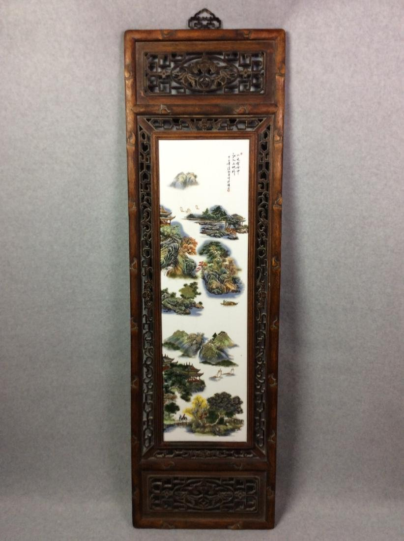 Chinese framed porcelain plaque painted with