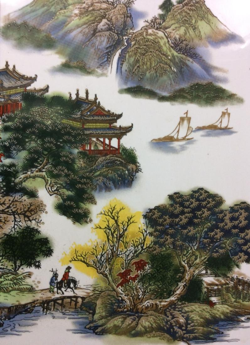 Chinese framed porcelain plaque painted with - 4