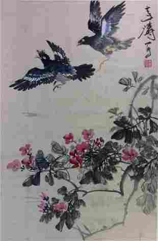 Chinese painting hanging scroll.