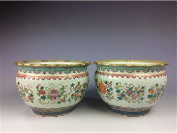 Pair of Chinese pots with eight auspicious