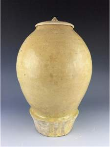 Very rare antique Chinese yellow glaze pottery lidded