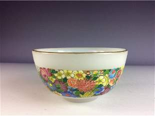 Chinese Peking glass bowl with flowers
