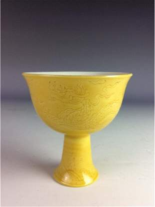 Chinese yellow glaze stem cup with engraving dragon