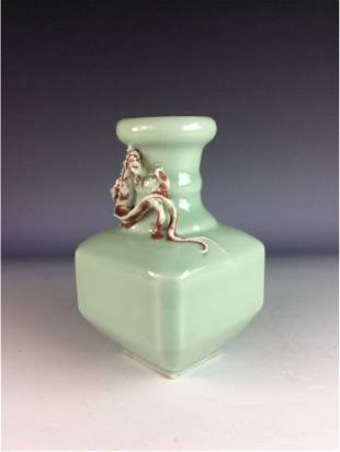 Chinese celadon vase in shape of square abdomen with