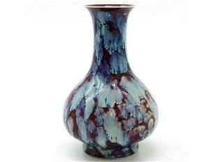 Chinese porcelain vase with flambe glaze sixcharacter