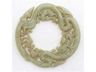 Fine Chinese jade cared dragons pattern