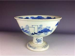 Chinese blue and white stem cup with landscaping
