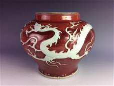 Rare Ming period Chinese porcelain jar, red ground with