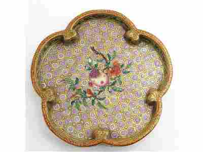 Very rare and pretty Chinese porcelain dish, famille