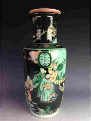 Elegant Chinese black ground rouleau vase with figures