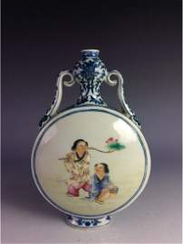 Rare Chinese B/W moon flask vase with figures mark on