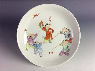 Vintage Chinese saucer with children at play mark on