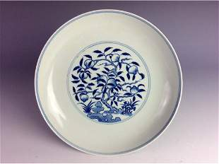 Chinese BW plate with peach branches sixcharacter