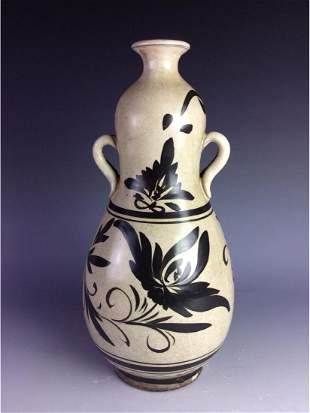 Chinese CiZhou kiln double gourd bottle vase with