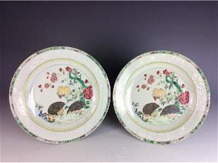 Pair of Chinese export plates with quails and