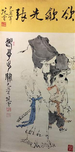 Chinese hand painted hanging scroll depicting figures
