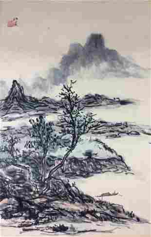 Chinese hand painted painting ink and color on paper