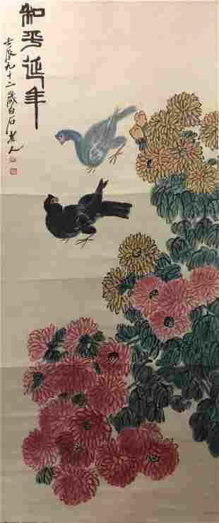 Chinese hand painted hanging scroll depicting birds and