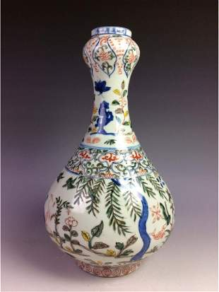 Vintage Chinese porcelain garlic head vase decorated